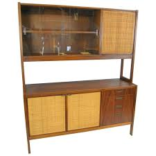 Mid Century Danish Modern Rosewood China Cabinet With Cane Door Fronts For Sale