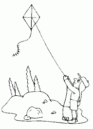 Little Girl Flying Kite Up Above Coloring Page