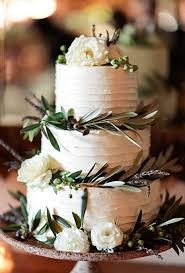 Rustic Floral Wedding Cake White Tiered With Flowers Cakes