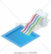Isometric Colourful Water Slide With Pool Aquapark Equipment Set For Design Swimming
