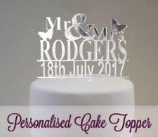 PERSONALISED Wedding Cake Topper Table Decoration Favour Mr Mrs Keepsake Acrylic
