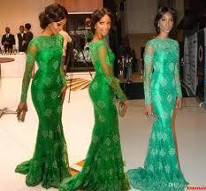 custom made 2015 miss nigeria red carpet dress mermaid green lace