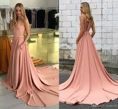 2018 simple pink dresses evening wear cut away side sweep trian