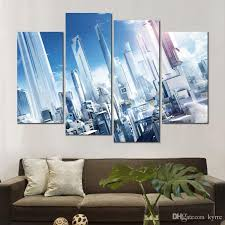 großhandel 4 sätze leinwand drucke rand stadt aus glas malerei wandbilder für wohnzimmer dekoration kyrre 12 68 auf de dhgate dhgate