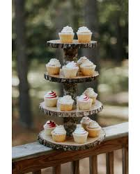 Wood Slice Cupcake Stand Woodland Baby Shower Decor Rustic