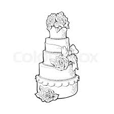Stock vector of Traditional white tiered wedding cake decorated with marzipan roses sketch style