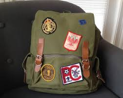 Unique Khaki Backpack With Travel And Scout Patches