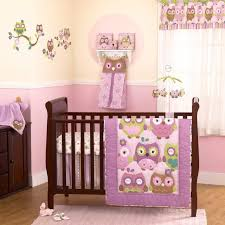 Purple Green and Brown Owls Baby Girls Discounted 4pc Nursery