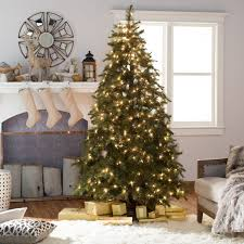 Spiral Pre Lit Christmas Trees by Belham Living 7 5 Ft Natural Pine Needle Clear Pre Lit Full