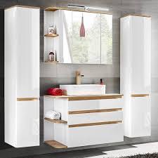 badezimmer spiegelschrank mit led cos 56 weiß mit wotaneiche b x h x t ca 94 x 71 x 20 cm