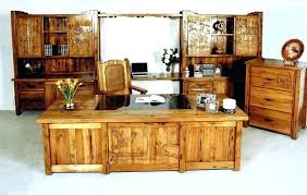 Executive Desk Set Office Accessories Wooden Rustic Black Leather
