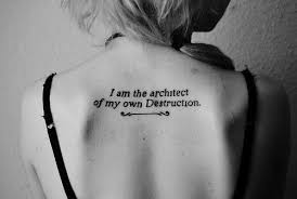 I Am The Architect Quote Tattoo On Girl Upperback