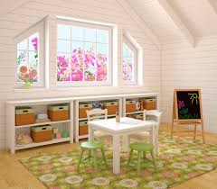 Cool Playroom With White Lumber Open Storage Racks Plus Rattan Basket Also Mini