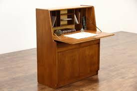 Drop Front Secretary Desk by Sold Midcentury Modern 1960 Vintage Teak Secretary Desk Signed