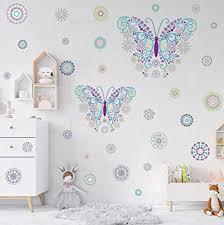 kairne schmetterling wandtattoo blumen wandaufkleber kinder butterfly stickers punkte wandsticker bunt kinderzimmer wand deko für mädchen