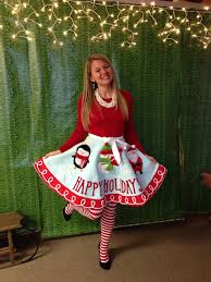 ugly holiday sweater party idea make a tree skirt into a skirt