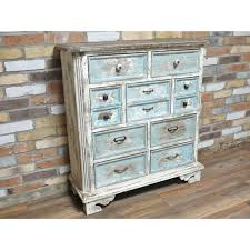 Antique White Chest Of Drawers Large Blue Rustic 9 Drawer
