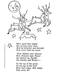 Santas Reindeer Dasher Dancer Prancer Vixen Christmas Coloring Sheet