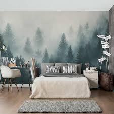 non woven wallpaper coniferous forest in fog mural