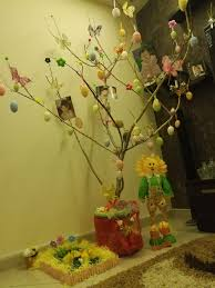 Springtime Creative Easter Tree Decoration With Eggs And Photos