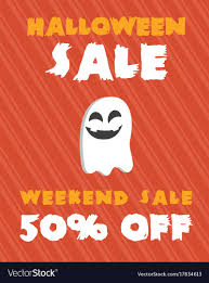 Halloween Sale Poster Design On Orange Background Vector Image