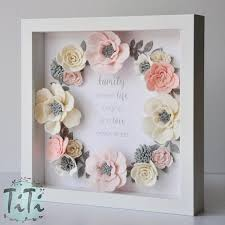 Pastel Felt Flowers Box Frame Floral Wall Art Picture Wedding Memory Gift Mothers Day Personalised Custom Quote
