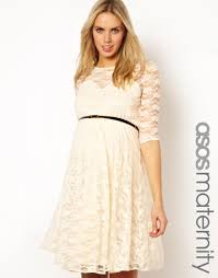 asos lace skater dress with belt in natural lyst