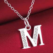 fashion letter M silver plated Necklace New Sale silver necklaces