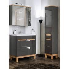 badezimmer set mit 80cm keramik waschtisch led spiegelschrank solna
