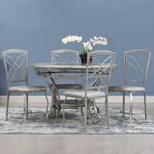 Home Source Donna Silver Metal Dining Table - Grey - N/A Home Source Donna Silver Metal Ding Table Grey Na Fniture Nice Chair Room Qarmazi White And Gray Set Of Eight Vintage Rams Head Angloindian Embossed Chairs Ausgezeichnet Industrial Wood Design Hefner Silver 5 Piece Ding Set 100 To Complete Flash 315 X 63 Rectangular Inoutdoor With 4 Stack Polk In Brushed Rustic Pine Seat 3pcs Black Metal Details About 2pcs Distressed 11922 Indian Hub Cosmo Silver Ding Table Chairs Thepizzaringcom