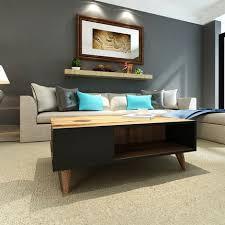 lyon kaffeetisch inhaber einer buchzeitschrift mit einlegeboeden vom wohnzimmer nussbaum schwarz aus holz 90 x 60 x 38 6 cm