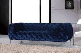 Tufted Velvet Sofa Furniture by Mercer Navy Sofa 646 Meridian Furniture Fabric Sofas At Comfyco