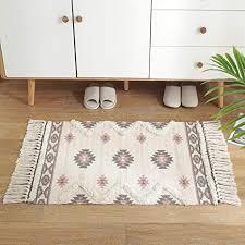 abreeze boho teppich aus baumwolle bedruckt bohemian stil mit quasten für badezimmer eingang küche waschküche bauernhof grau rot