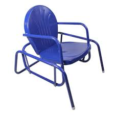 Details About Northlight Electric Blue Retro Metal Tulip Outdoor Single  Glider