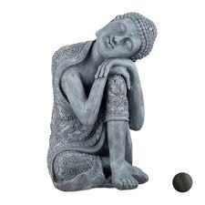 relaxdays buddha figur geneigter kopf 60cm