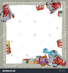 Fire Truck City Border Illustration Children Stock Illustration ...