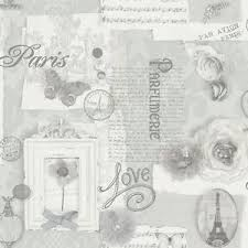 Image Is Loading Vintage Shabby Chic Paris Wallpaper Grey 665401 Free