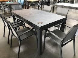 jati kebon set 6 sevilla stapelsessel und 1 gabon tisch ausziehbar 160 210x90 cm mit hpl tischpla