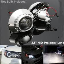 2pcs 2 5 xenon hid headlight projector lens retrofit hi low beam