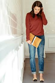 Sequins And Stripes Blogger Jeans Ballet Flats Red Sweater Pouch Mustard Bag