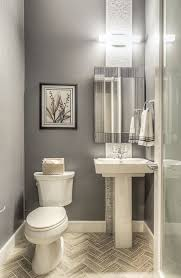 modern powder room with ceramic tile by green st communities