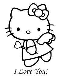 Hello Kitty Angel Valentine Coloring Page