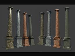 Marble Roman Tuscan Columns With Pedestal high low 3d Model