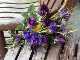 Rustic Wedding Bouquets Fall Country Silk Bridal Bouquet Purple Flowers 4 Pc