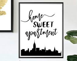 Home Sweet Apartment Wall Art Housewarming Gift Decor 115