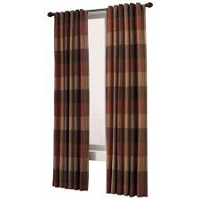 Allen And Roth Wood Curtain Rods by Plaid Paneled Allen And Roth Curtain Panels Rust Brown And Tan