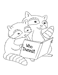 Two Raccoon Reading Book Coloring Page