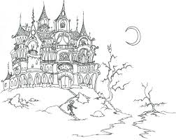 Coloring Pages A Haunted House With Skeletons