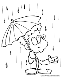 Printable Spring Coloring Page Rainy Season For Kids 243x300