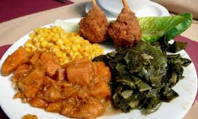 Soul Plate Your Choice Of Fried Fish Or Chicken With Candied Yams Greens And